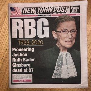 "New York Post Ruth Bader Ginsburg ""RBG"" Newspaper"